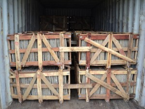 Premium crates, slate tiles packing in seaworthy, strong, scratch proof, chemical treated wooden crates.