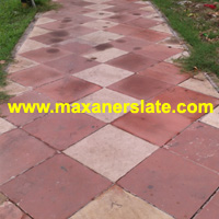 Agra red paving tiles & Dholpur beige paving tiles supplier from India.